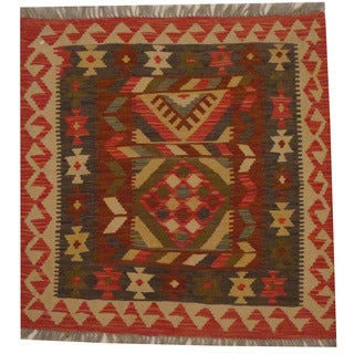 Herat Oriental Afghan Hand-woven Tribal Wool Kilim (2'10 x 2'10)