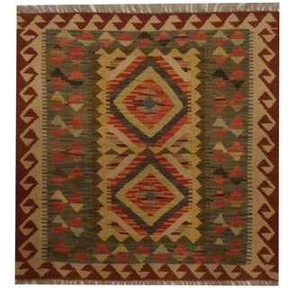 Herat Oriental Afghan Hand-woven Tribal Kilim (2'8 x 2'9)