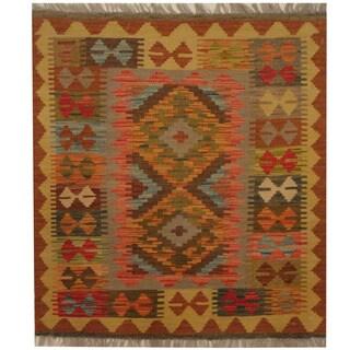 Herat Oriental Afghan Hand-woven Tribal Kilim (2'10 x 3')