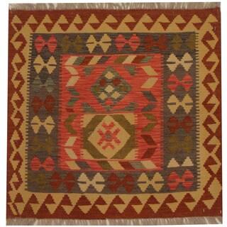 Herat Oriental Afghan Hand-woven Tribal Kilim (2'10 x 2'11)