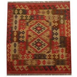 Herat Oriental Afghan Hand-woven Tribal Kilim (3' x 3'3)