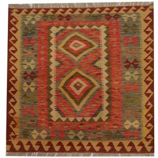 Herat Oriental Afghan Hand-woven Tribal Wool Kilim (2'11 x 2'11)