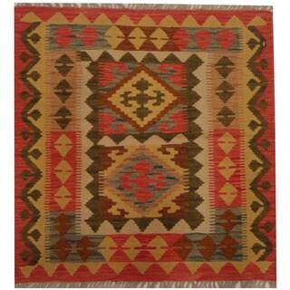 Herat Oriental Afghan Hand-woven Tribal Wool Kilim (2'9 x 2'10)