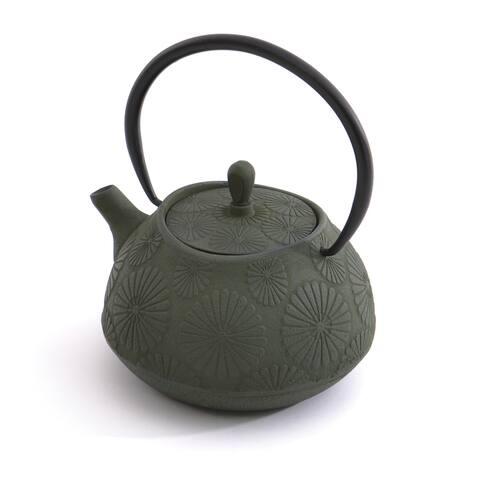 Studio Dark Green Flower Cast Iron 3.5-cup Teapot
