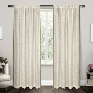 ATI Home Baja Natural Linen Toned Border Sheer Rod Pocket Curtain Panel Pair