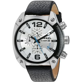 Diesel Men's DZ4413 'Overflow' Chronograph Black Leather Watch