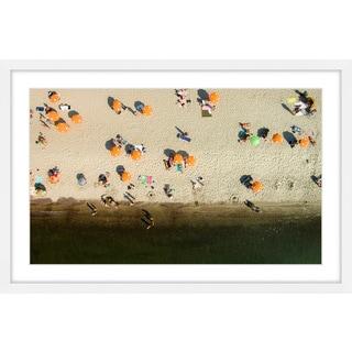 Marmont Hill - 'Orange Umbrellas' by Karolis Janulis Framed Painting Print