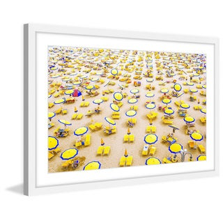 Marmont Hill - 'Yellow Umbrellas' Framed Painting Print