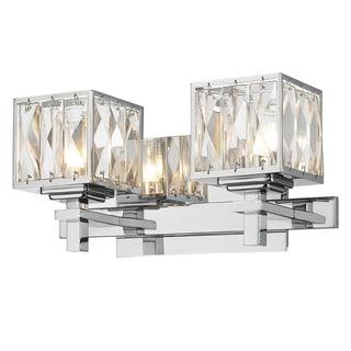 Golden Lighting Neeva Chrome Steel/Glass 2-light Bath Vanity Light Fixture