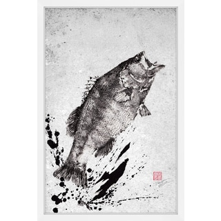 Marmont Hill - 'Black Bass Jump' by Dwight Hwang Framed Painting Print