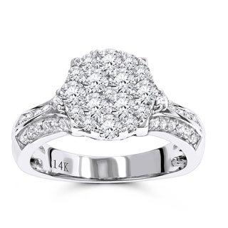 Luxurman Luxury Diamond Engagement Ring 1.5ct 14K Gold (G-H,SI1-SI2)