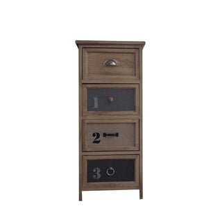 Urban Port Antiqued Brown Wood Four Drawer End Table
