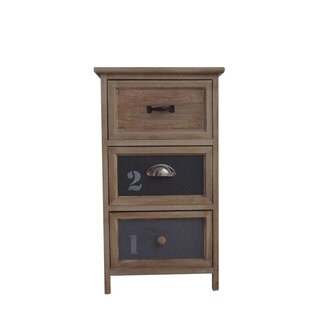 Urban Port Benzara Brown Wood/Glass/MDF Antiqued-finished End Table
