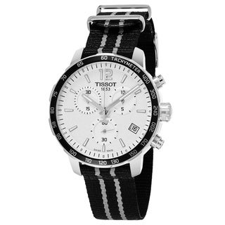 Tissot Men's T095.417.17.037.07 'Quickster' Silver Dial Black Fabric Strap Swiss Quartz Watch