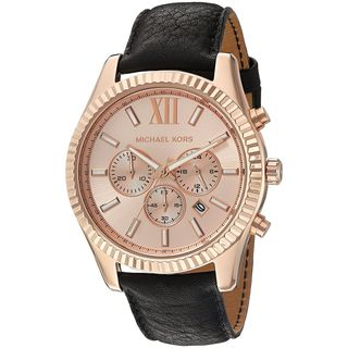 Michael Kors Men's 'Lexington' Chronograph Black Leather Watch