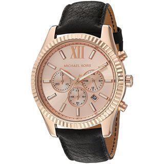 Michael Kors Men's MK8516 'Lexington' Chronograph Black Leather Watch