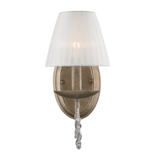 Golden Lighting Mirabella Steel/Glass 1-light Wall Sconce With Pearl Chiffon Shade