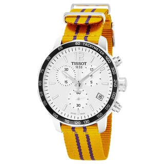 Tissot Men's T095.417.17.037.05 'Quickster' Silver Dial Yellow Fabric Strap Chronograph Los Angeles Lakers Swiss Quartz Watch