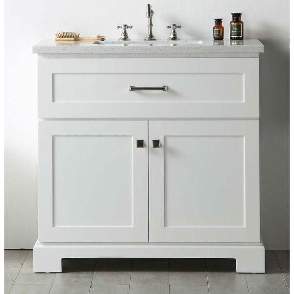 furniture white wood quartz top 36 inch sink vanity without faucet