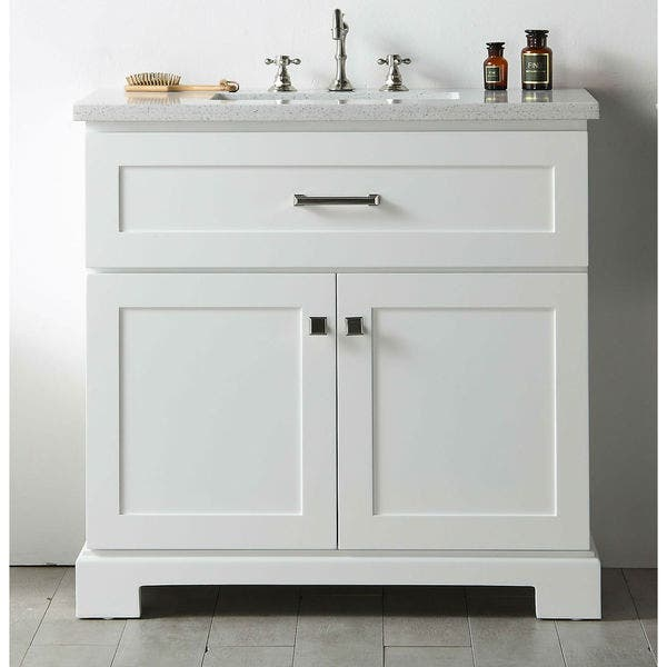Legion Furniture White Quartz Top 36 Inch Sink Vanity Without Faucet Overstock 12747351