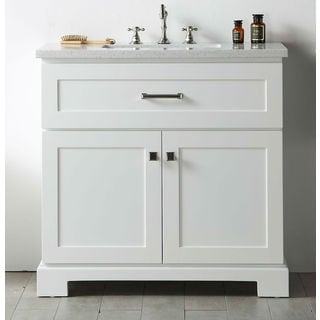 Legion Furniture White Wood Quartz Top 36-inch Sink Vanity without Faucet