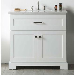 Legion Furniture White Quartz Top 36-inch Sink Vanity without Faucet