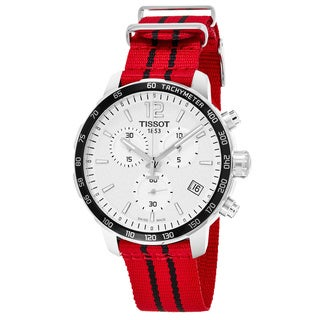 Tissot Men's T095.417.17.037.04 'Quickster' Silver Dial Red Fabric Strap Chicago Bulls Chronograph Swiss Quartz Watch