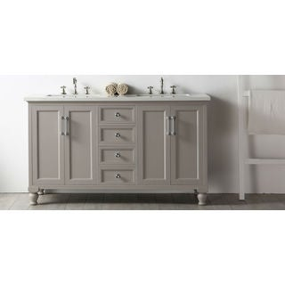"Legion Furniture 60"" Warm Gray Double Sink Vanity with Quartz Top"