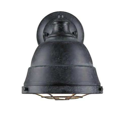 Golden Lighting #7312-1W BP Bartlett Black-pattina Finish Steel 1-light Wall Sconce