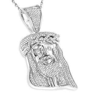 Luxurman Sterling Silver 3/4ct TDW Mini Diamond Jesus Head Pendant (H-I, I1-I2)
