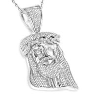 Luxurman Sterling Silver 3/4ct TDW Mini Diamond Jesus Head Pendant