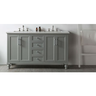 """Legion Furniture 60"""" Cool Gray Double Sink Vanity with Quartz Top"""