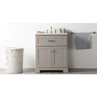 Legion Furniture Warm Grey Wood 30-inch Quartz-top No-faucet Sink Vanity