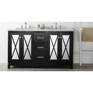 "Legion Furniture 60"" Espresso Double Sink Vanity with Quartz Top"