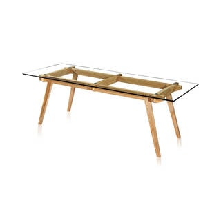 Kardiel Sticotti Wood, Glass Top Mid-Century Modern Dining Table