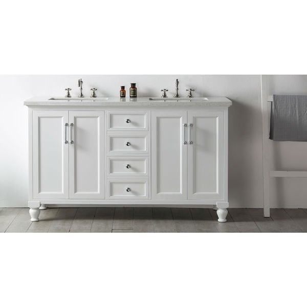 Legion Furniture 60 White Double Sink Vanity With Quartz Top