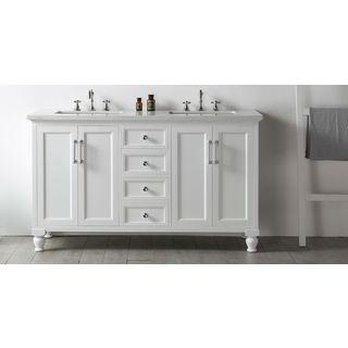 "Legion Furniture 60"" White Double Sink Vanity with Quartz Top"