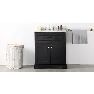 Legion Furniture Espresso Wood 30-inch Quartz-top No-faucet Sink Vanity
