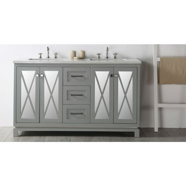 "cool grey white bathroom vanity | Shop Legion Furniture 60"" Cool Gray Double Sink Vanity ..."