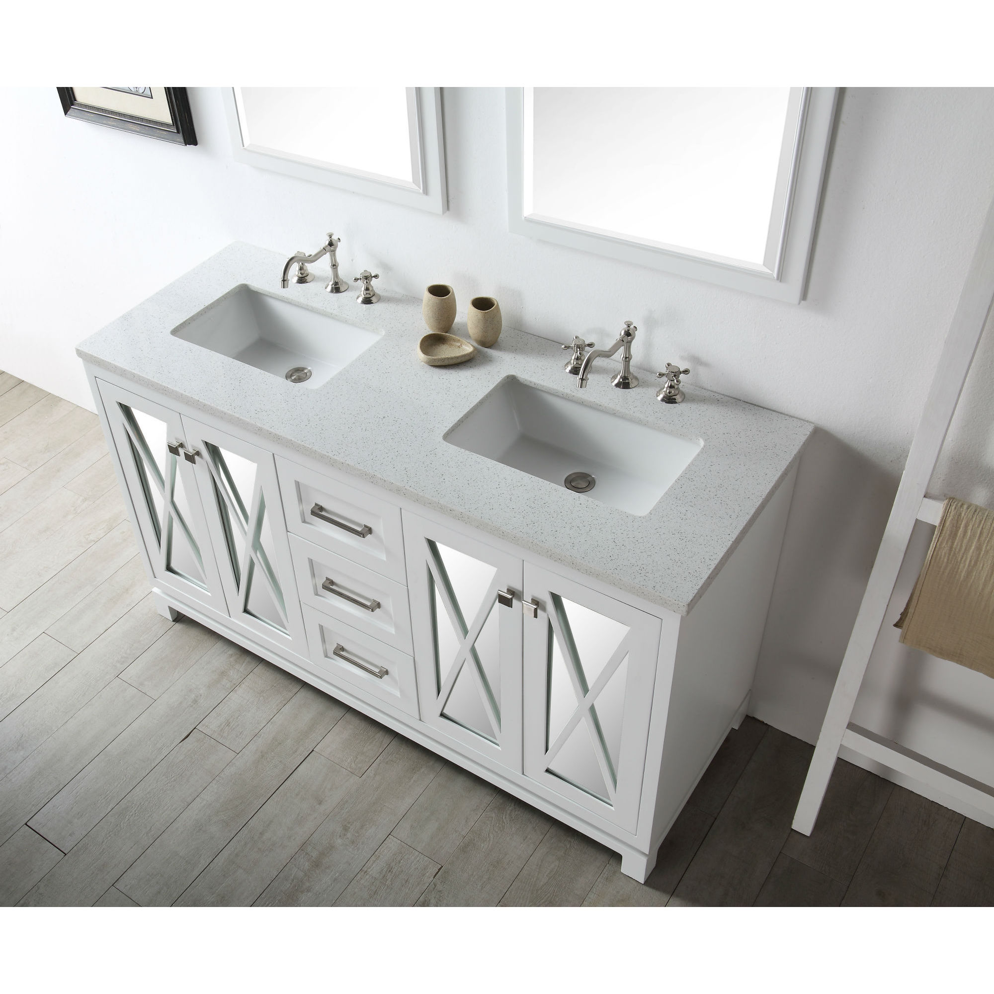 60 In White Double Bathroom Vanity With Quartz Top Overstock 12747380