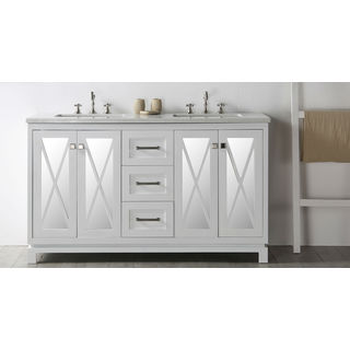 "Legion Furniture 60"" White Double Sink Vanity with Quartz Top"