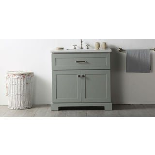 Legion Furniture Cool Grey Wood Quartz-top 30-inch (No Faucet) Sink Vanity