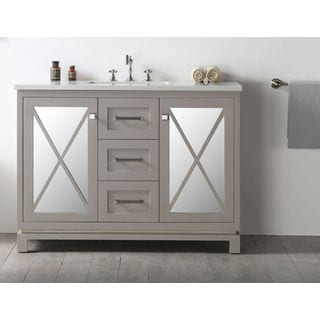 "Legion Furniture 48"" Warm Gray Single Sink Vanity with Quartz Top"