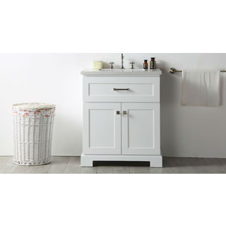 Legion Furniture White Wood 30-inch Quartz-topped Sink Vanity with No Faucet