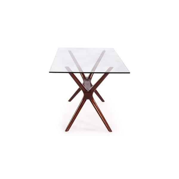 Shop Kardiel Sputnik Mid Century Modern Glass Top Walnut Dining Table Brown Overstock 12747385