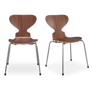 Kardiel Soda Set of 2 Modern Walnut Wood Dining Chairs