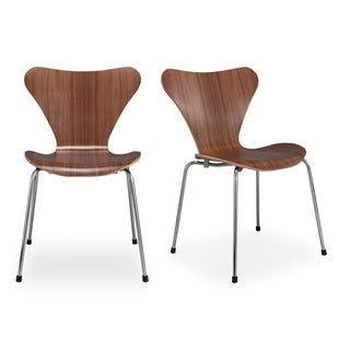 Kardiel Luxe Set of 2 Modern Walnut Wood Dining Chairs