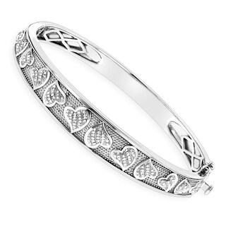 Luxurman Sterling Silver Bracelets: Diamond Heart Bangle 0.33ct (H-I; I1-I2)
