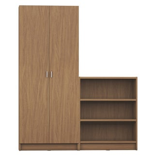 Manhattan Comfort Greenwich 2- Piece Bookcase 9- Wide Shelves with 2 Doors