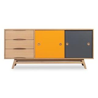 Kardiel  Color Pop Mid-century Modern 2-Door Credenza (Oak Finish - Oak/Orange and Charcoal Doors)
